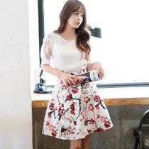 Mistletoe碎花夏季新款女装韩版印花连衣裙F6641(白色 M)