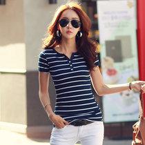 莉菲姿 T恤女大码女装夏新款开衫小V领女士条纹纯棉短袖t恤女上衣(深蓝色 XL)