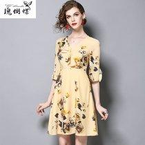 瑰蝴蝶2017夏季新品時尚 短裙荷葉袖修身印花V領連衣裙87739(黃色 XL)