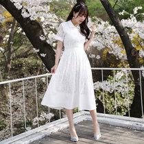 Mistletoe2017夏季新款女装修身蕾丝镂空衬衫韩版连衣裙F6674(白色 XL)