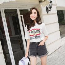 2017夏季新款彈力流蘇牛仔短褲修身秀腿彈力高腰寬松韓版女短褲(黑色 32)