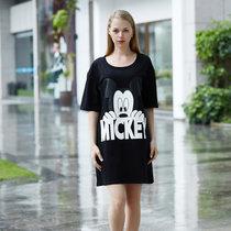 迪士尼 米奇系列 纯棉半身裙 卡通印花 女士睡衣 时尚舒适简约 圆领透气 D17SW040(黑色 均码)