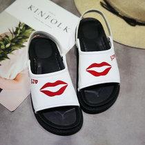 夏季新款百搭松糕凉鞋女夏平底韩版学生低跟厚底魔术贴防滑罗马鞋(37)(白色-15)