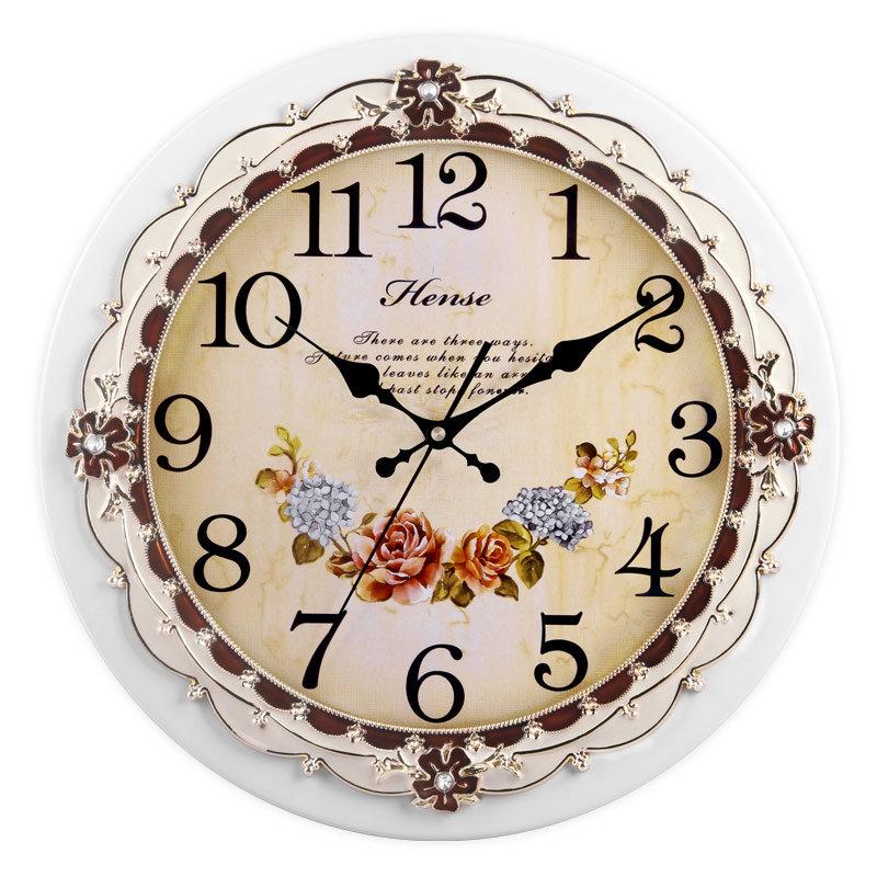 汉时(hense) 挂钟 欧式田园艺术静音时尚创意客厅石英