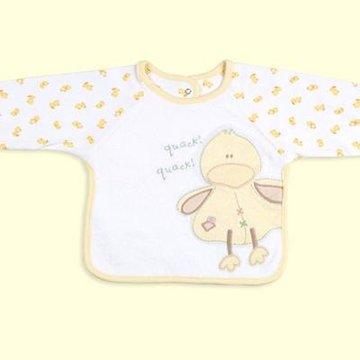 卡特思宝宝纯棉三层防水反穿衣 秋款婴儿吃饭兜 可爱卡通图案(黄色