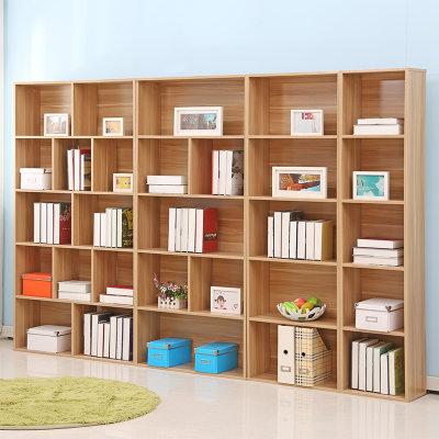 亿宸贵苏 五层板式书架 (浅胡桃色 A+B+C+D款 长280厘米)