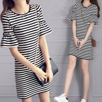 Mistletoe夏季t恤裙修身短袖休闲裙中长款喇叭袖条纹连衣裙女装(黑色 M)