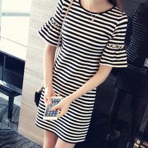 【朵迪雅尚】短袖T恤女中长款女式条纹宽松女装韩版横条纹女士连衣裙(喇叭袖条纹 XXXL)