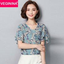 VEGININA 印花荷叶边碎花雪纺衫短袖 9736(蓝色 XXL)
