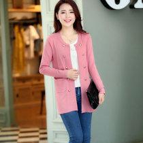 娇维安 韩版毛衣春季女装外套 修身显瘦针织衫 长袖针织开衫 女(皮粉色 均码)