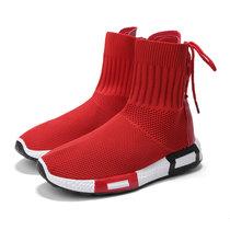 羊骑士女袜子靴秋冬新品红色休闲靴子英伦风潮流2018年学生高帮针织弹力鞋(YGF01红色 40)