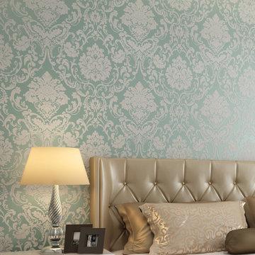 无纺布3d植绒发泡壁纸 欧式卧室客厅餐厅满铺(蓝绿色8673)