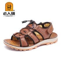 老人头2017新款夏季防滑休闲鞋子户外运动沙滩鞋韩版个性男鞋潮男士凉鞋17221(棕色 44)