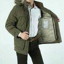 战地吉普AFS JEEP 冬装新款可脱卸内胆羽绒服外套 H-16加厚保暖中长款羽绒衣 帽子可脱卸(军绿)