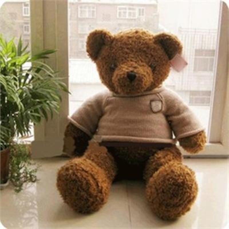 毛绒玩具 泰迪熊公仔布娃娃生日礼物女生70cm多款(咖啡色)