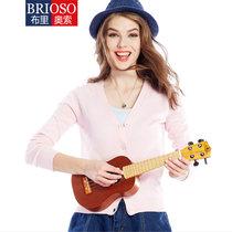 BRIOSO女式新款纯色长袖开衫针织衫 女针织衫(B15KS08)