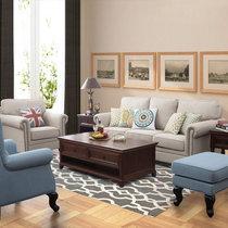 美天乐 2017新品家具简约美式乡村沙发田园布艺沙发客厅小户型单人双人三人位沙发组合(乳胶款 三位)