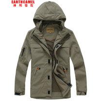 神州駱駝戶外旅行夾克薄款可脫卸帽男士沖鋒衣外套上衣 戶外休閑速干夾克上裝防水防塵男士功能外套(802B-PP卡其 3XL)