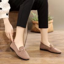 新款2019春季妈妈豆豆鞋绒皮平底鞋女韩版百搭浅口单鞋女休闲鞋(焦糖色 40)