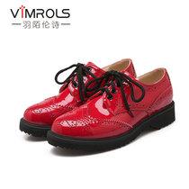 羽陌伦诗  春季?#22797;?#22799;洛克雕花深口低跟舒适百搭女士单鞋  R060(红色 39)