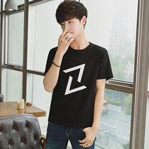 卡郎琪 男士2018年夏季新款短袖t恤 舒适棉圆领修身半袖衣服韩版潮流几何?#21450;?#22823;码体恤男装上衣(KLQKX-C23黑色 XXXL)