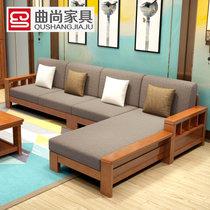 曲尚 现代中式?#30340;?#27801;发  L型客厅沙发家具组合套装 908(海棠+咖啡 4人位+贵妃脚踏+茶几)