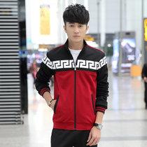 艾酷狼 男秋冬男士卫衣休闲套装 男士保暖立领加绒运动服套装 L1615(红色 3XL)