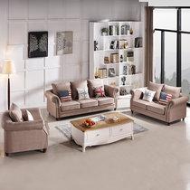圣肯尼家具 美式布艺沙发组合 简约现代沙发组合小户型可拆洗组合沙发(卡其 单人+双人+三人位)