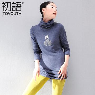 初语新款女装堆堆领手绘头像印花中长款修身打底长袖t恤346101028