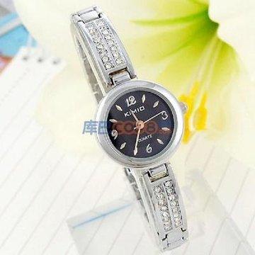 正品 金米欧kimio女表 纤巧优雅水晶钻手链手表 黑色