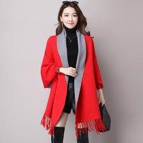 嬌維安 韓版女裝針織開衫 春季下擺流蘇雙色披肩外套 女(紅色 均碼)