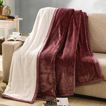 南极人 贝贝绒毯子毛毯 空调毯午睡毯 四季毯子 酒红 双层加厚(酒红)