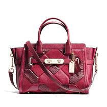 蔻馳(COACH)女包 拼色印花皮質女士手提包單肩包36109(紅色)