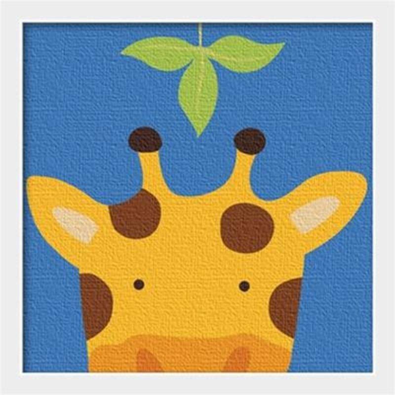 华庭丽娜diy数字油画 20x20 动物连连看-长颈鹿 学习绘画简单易画