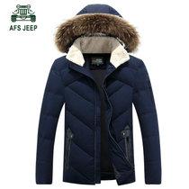 309冬装新款战地吉普AFS JEEP大毛领羽绒服外套 男士修身连帽保暖(蓝色 XL)