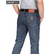 JEEP吉普牛仔裤男2018春秋冬新款青年直筒修身裤子商务休闲牛仔长裤男裤(2J-758蓝色 42对应腰围3尺1)