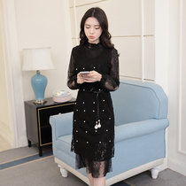 莉菲姿 2017春新款韩版女装V领钉珠背心裙蕾丝连衣裙两件套(黑色 XL)