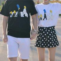 2018夏季新品情侣装夏装印花短袖T恤宽松情侣套装 上衣+裤子(上衣+裤子)(男M)
