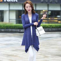 娇维安 韩版春季毛衣针织衫 薄款女装外套 时尚针织开衫 女(藏青色 均码)