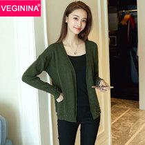 VEGININA 韩版宽松百搭长袖外搭开衫针织衫 3212(绿色 均码)