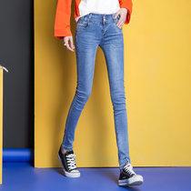 韩依诺2017春夏季韩版新款修身显瘦牛仔裤女弹力铅笔小脚长裤t1004(浅蓝 32)