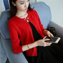 袨服莊2017秋裝新款女裝短外套針織衫女開衫毛衣外搭披肩空調衫4366(紅色 均碼)