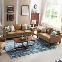 洛美蒂 真皮沙发头层牛皮客厅家具小户型美式皮艺沙发组合三人位 沙发组合(组合)