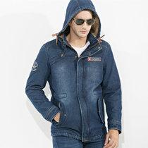 冬装战地吉普新款中长款加帽加绒牛仔夹克外套64J695男士保暖棉衣(蓝色 3XL)