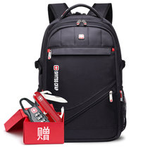 SVVTSSCFAP军刀双肩电脑包 15.6寸书包男女商务旅行背包 SV1603-黑色(黑色)