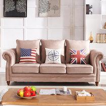 思巧 美式沙发 布艺沙发 小户型客厅沙发组合 田园地中海沙发 现代简约 可以拆洗 A8983(图片色 双人位)