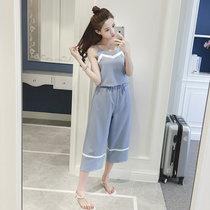 莉菲姿 2017夏季新款女装高腰显瘦雪纺九分裤吊带阔腿裤套装两件套(蓝色 S)