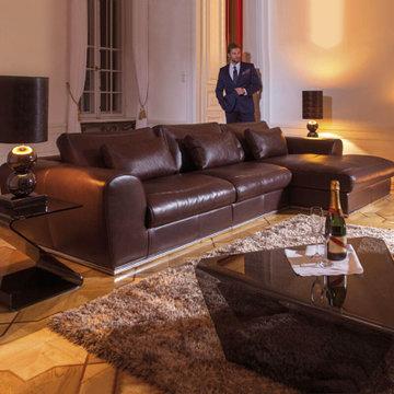 兰瑞蒂皮沙发 欧式后现代进口牛皮沙发 意大利头层牛皮l型沙发(黑色