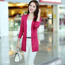 娇维安 韩版春季女装毛衣 长袖外套 镂空针织衫 修身显瘦针织开衫 女(玫红色 均码)