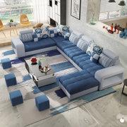 紫茉莉大户型布艺沙发三件套